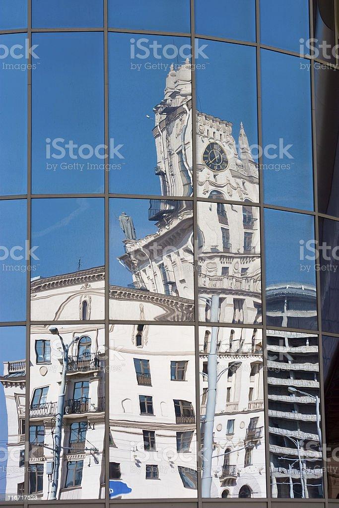 city in reflection royalty-free stock photo