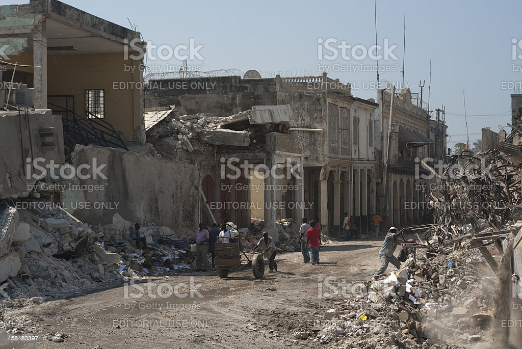 City in ruins stock photo