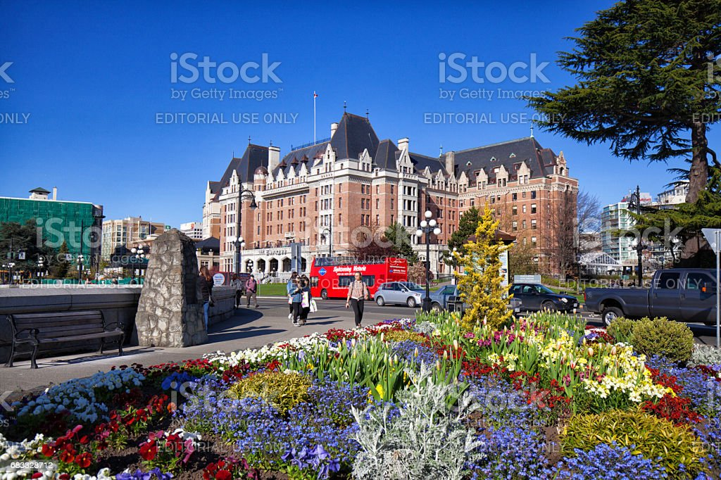 City in spring, Victoria, BC, Canada stock photo