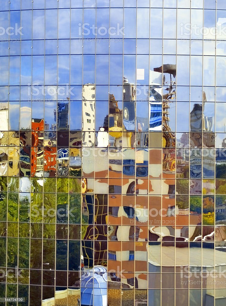 City in the distorting mirror royalty-free stock photo