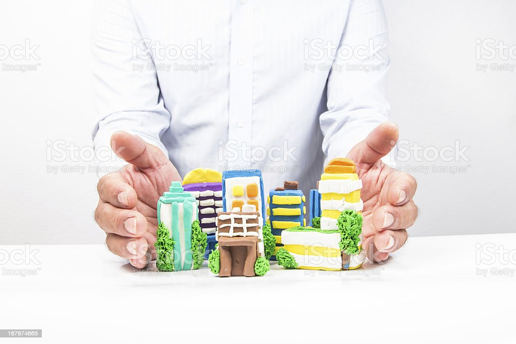 City in the hands. royalty-free stock photo