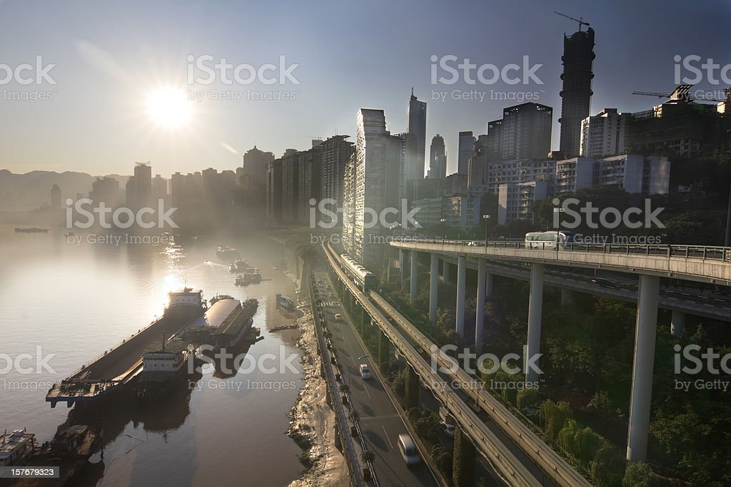 city in the morning royalty-free stock photo