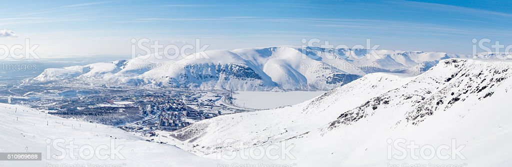City in the northern mountains stock photo