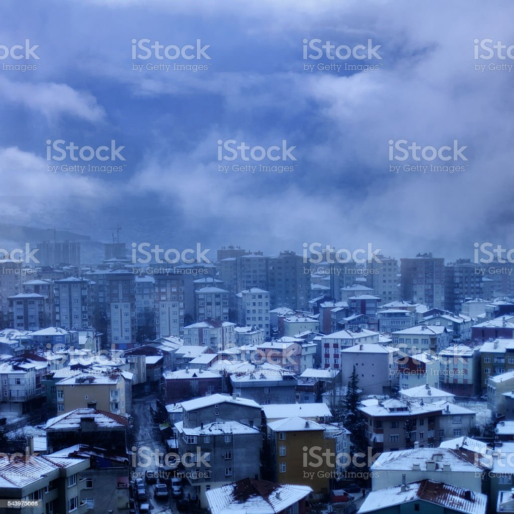 city in winter stock photo
