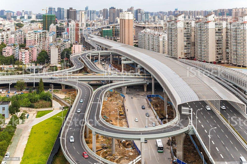city interchange overpass in wuhan,china stock photo