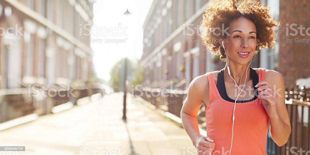 city jog stock photo