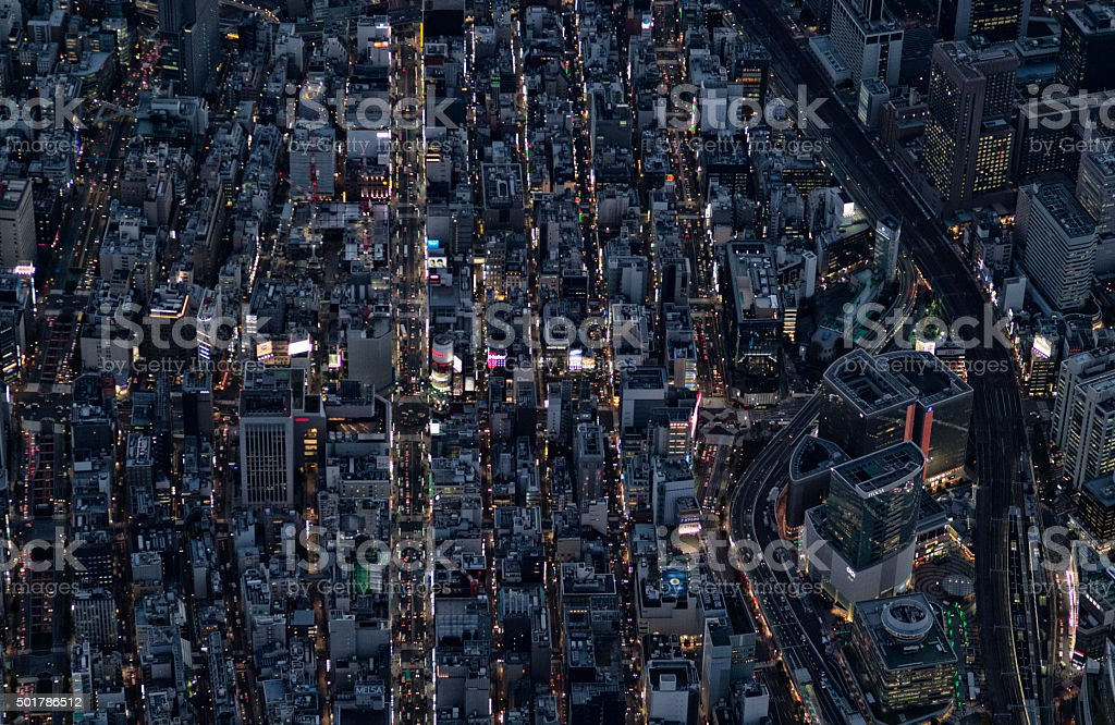 City landscape as seen from the air stock photo