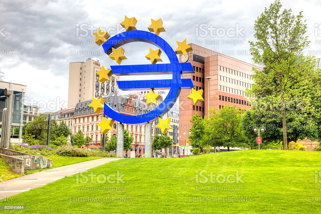 City landscape. Frankfurt am Main. Euro stock photo