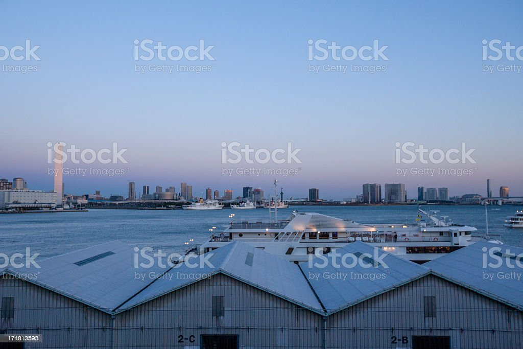 City landscape with skyscrapers and boat. stock photo