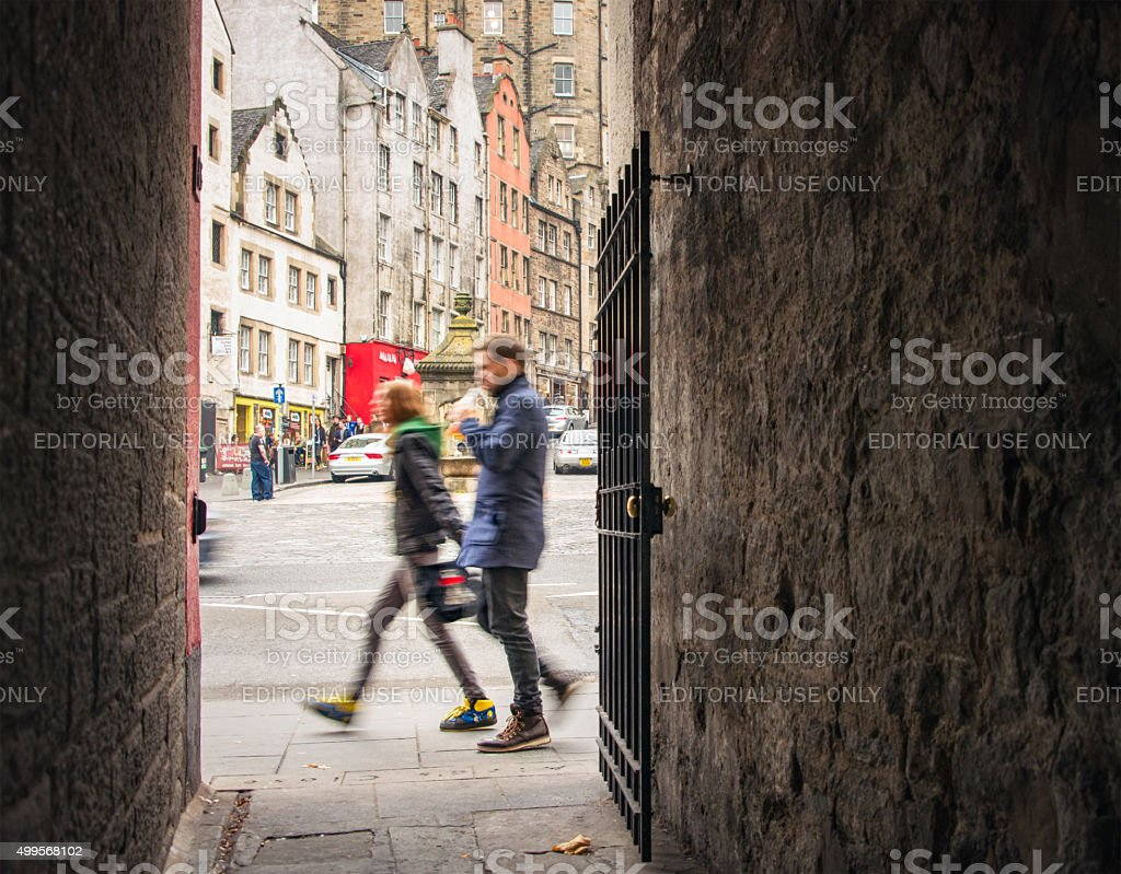 City Life in Edinburgh's Old Town stock photo