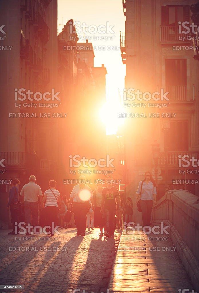 City life in Gerona, Spain. stock photo