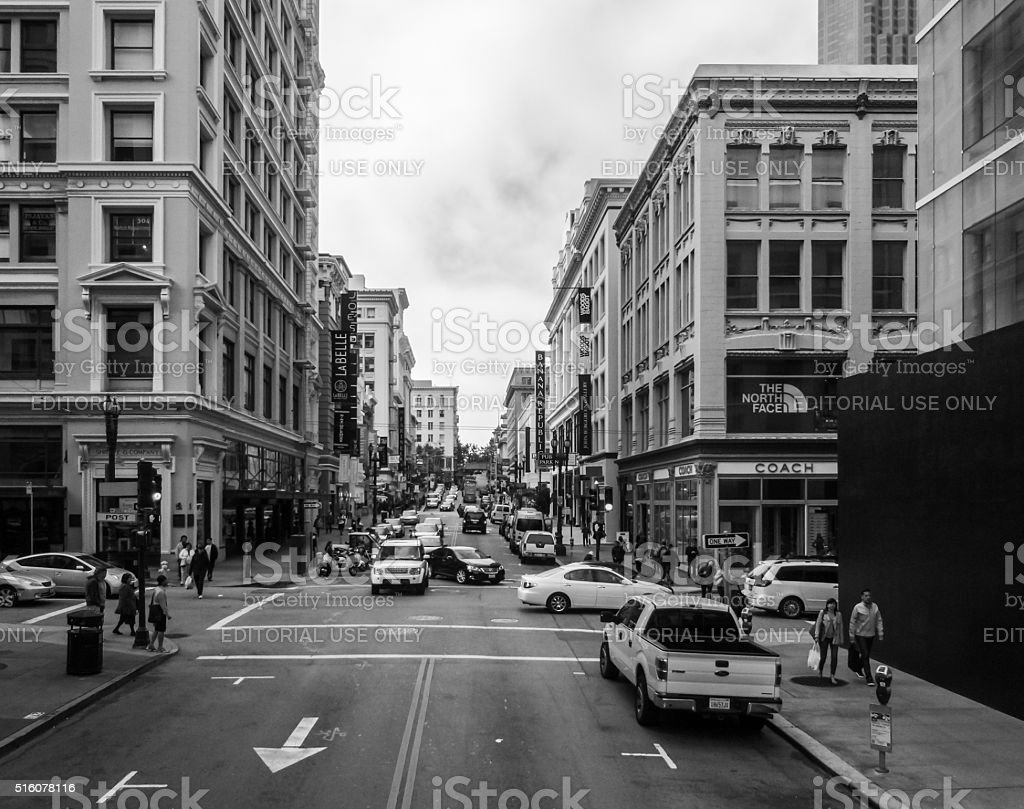 City life in San Francisco commuters and tourists stock photo