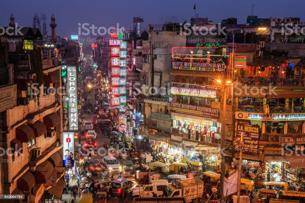 City life- Main Bazar by night, Paharganj, New Delhi, India stock photo