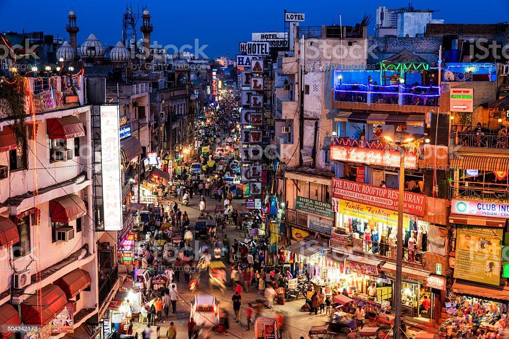 City life - Main Bazar, Paharganj, New Delhi, India stock photo