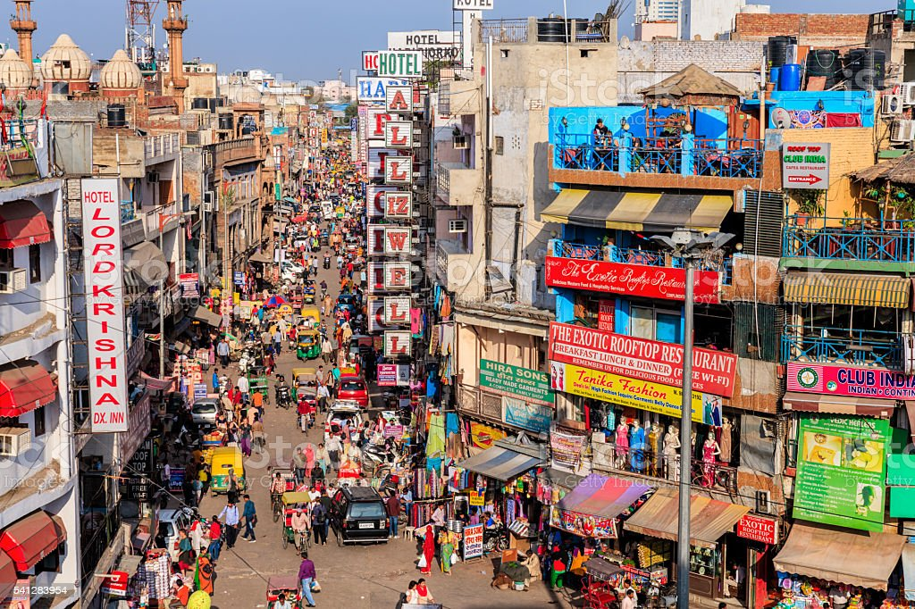 City life - Main Bazar, Paharganj, New Delhi, India stock photo