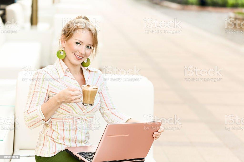 City life series: cheerful businesswoman royalty-free stock photo