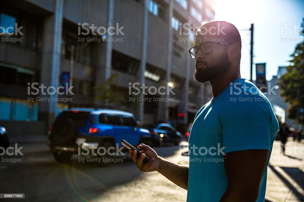 City life waiting for car pooling on the street stock photo