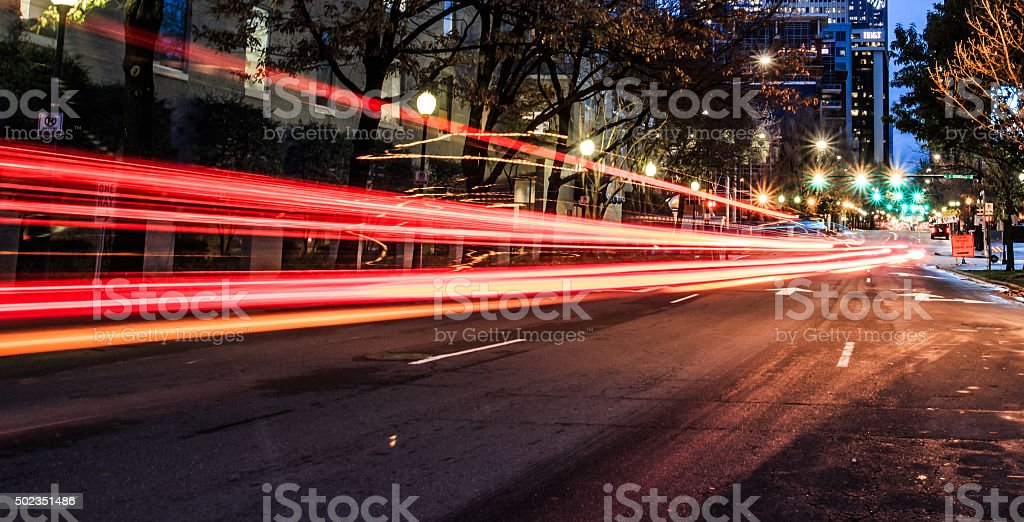 City lights and head stock photo