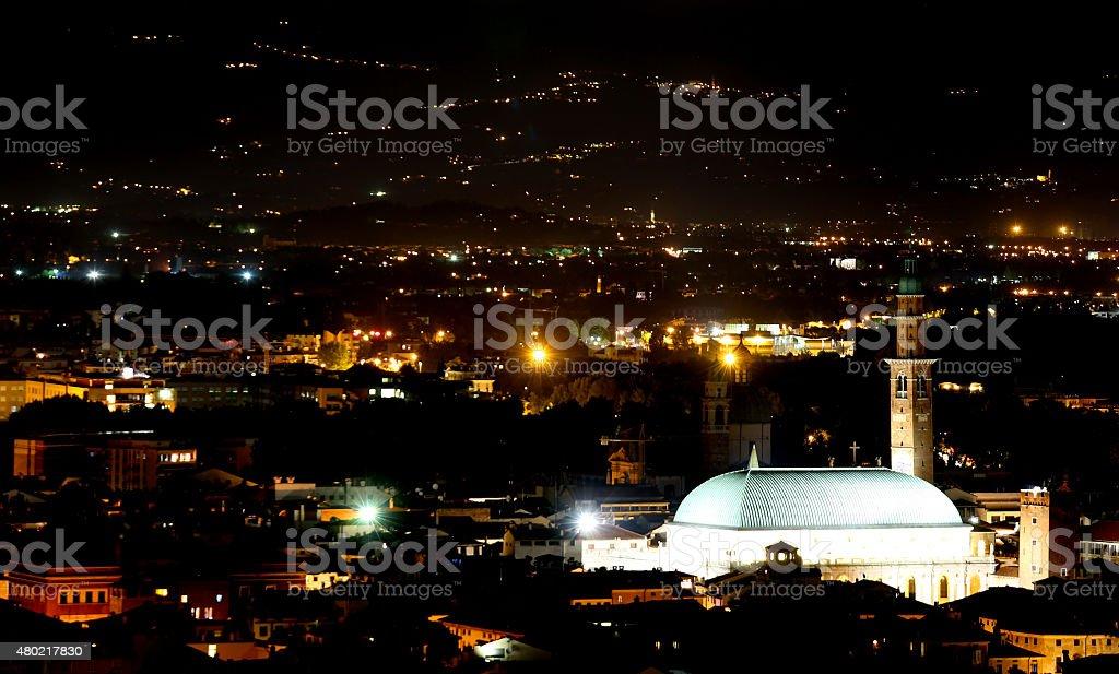 city lights at night and the illuminated monuments stock photo