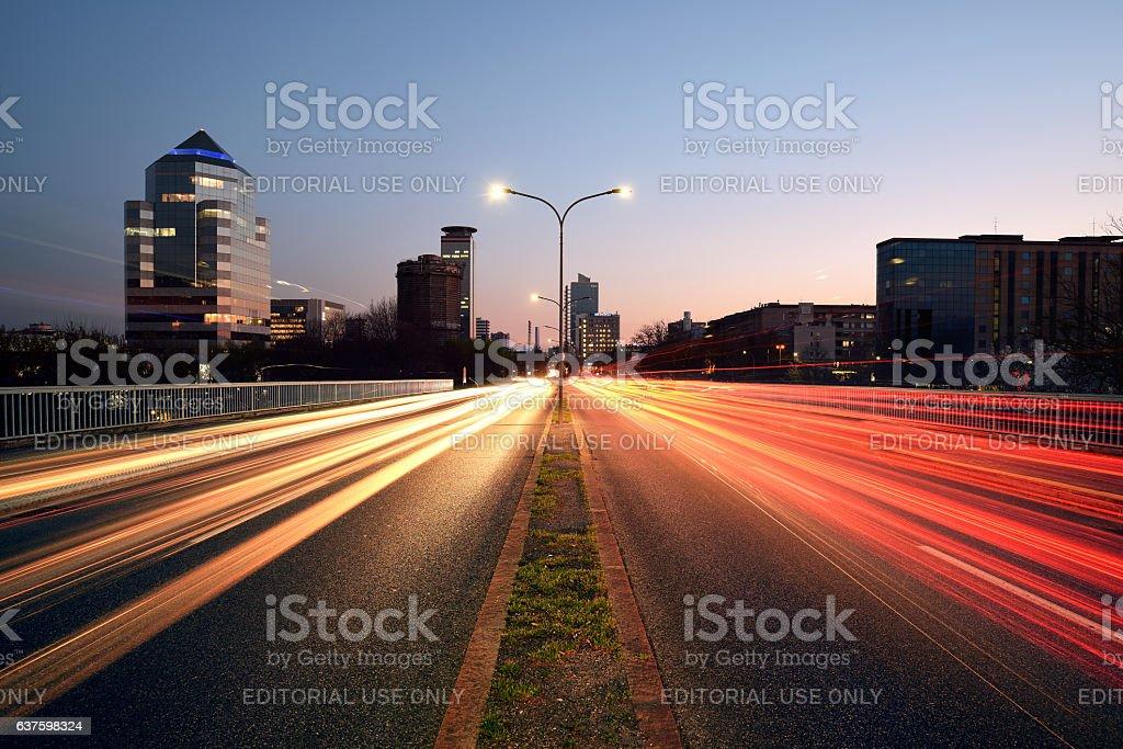 City Lights at Sunset, Brescia, Italy stock photo