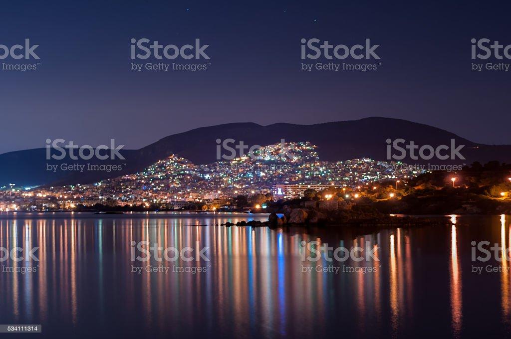 City lights at the sea stock photo