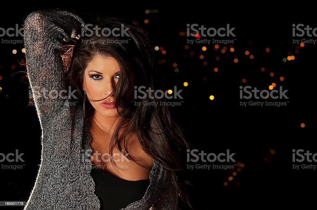 City lights behind female stock photo