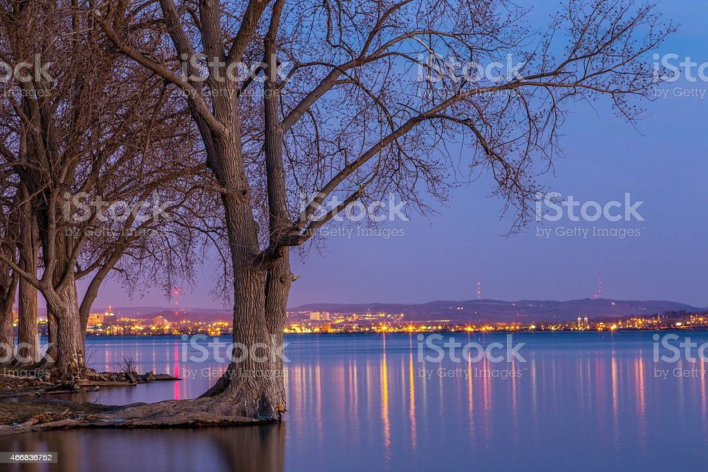 City Lights by the water 3257 stock photo