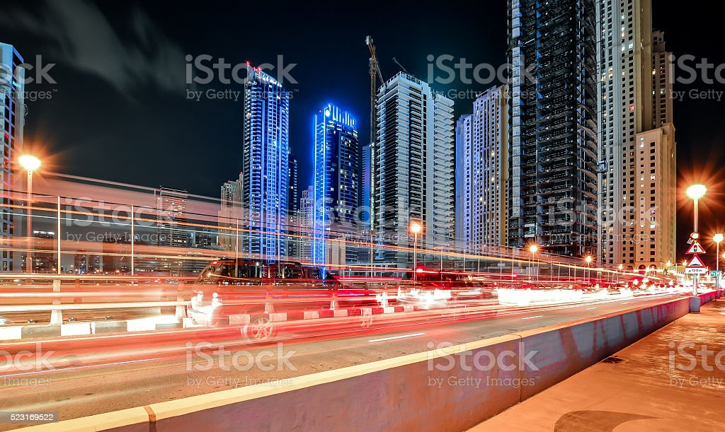City Lights, Dubai Marina Night Long Exposure stock photo