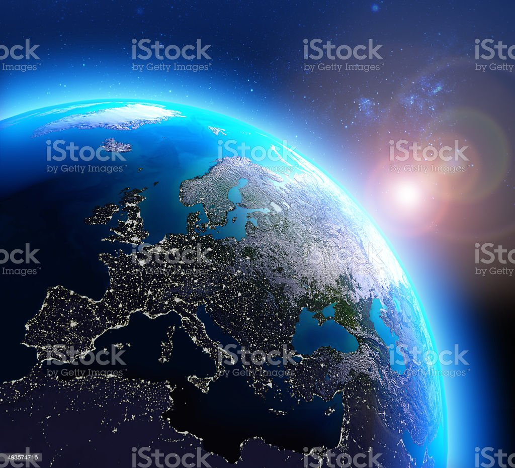 City lights in Europe seen from space stock photo