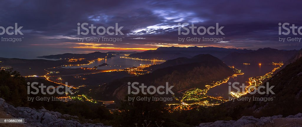 City lights in the Bay of Kotor, Montenegro stock photo
