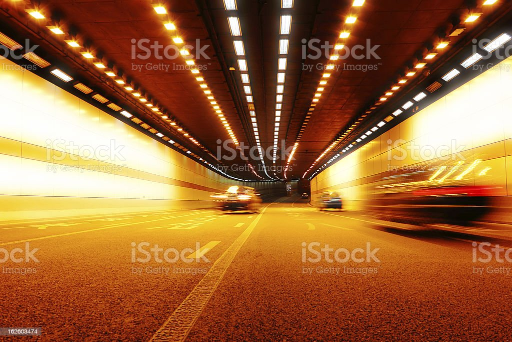 City lights in the tunnel