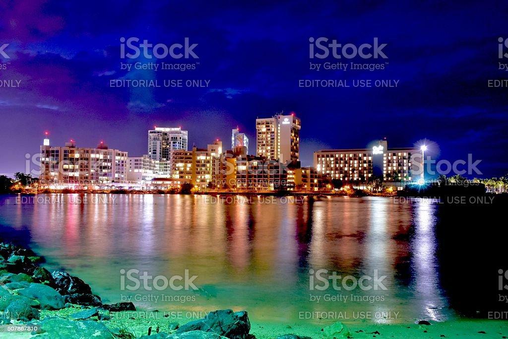 City lights near the beach stock photo