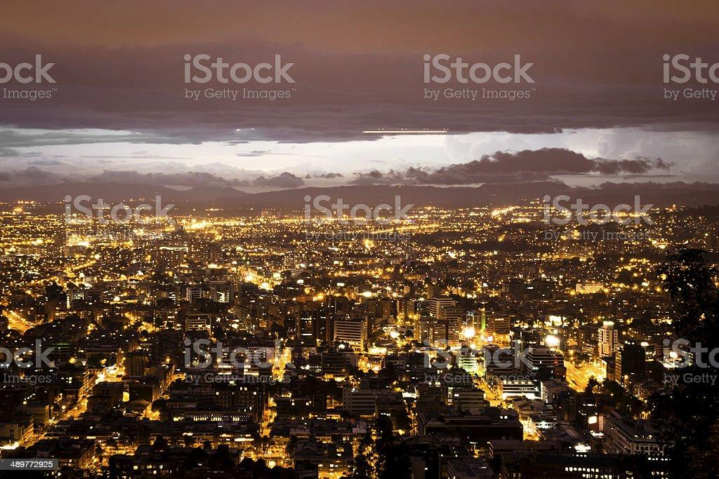 City lights of Bogota stock photo