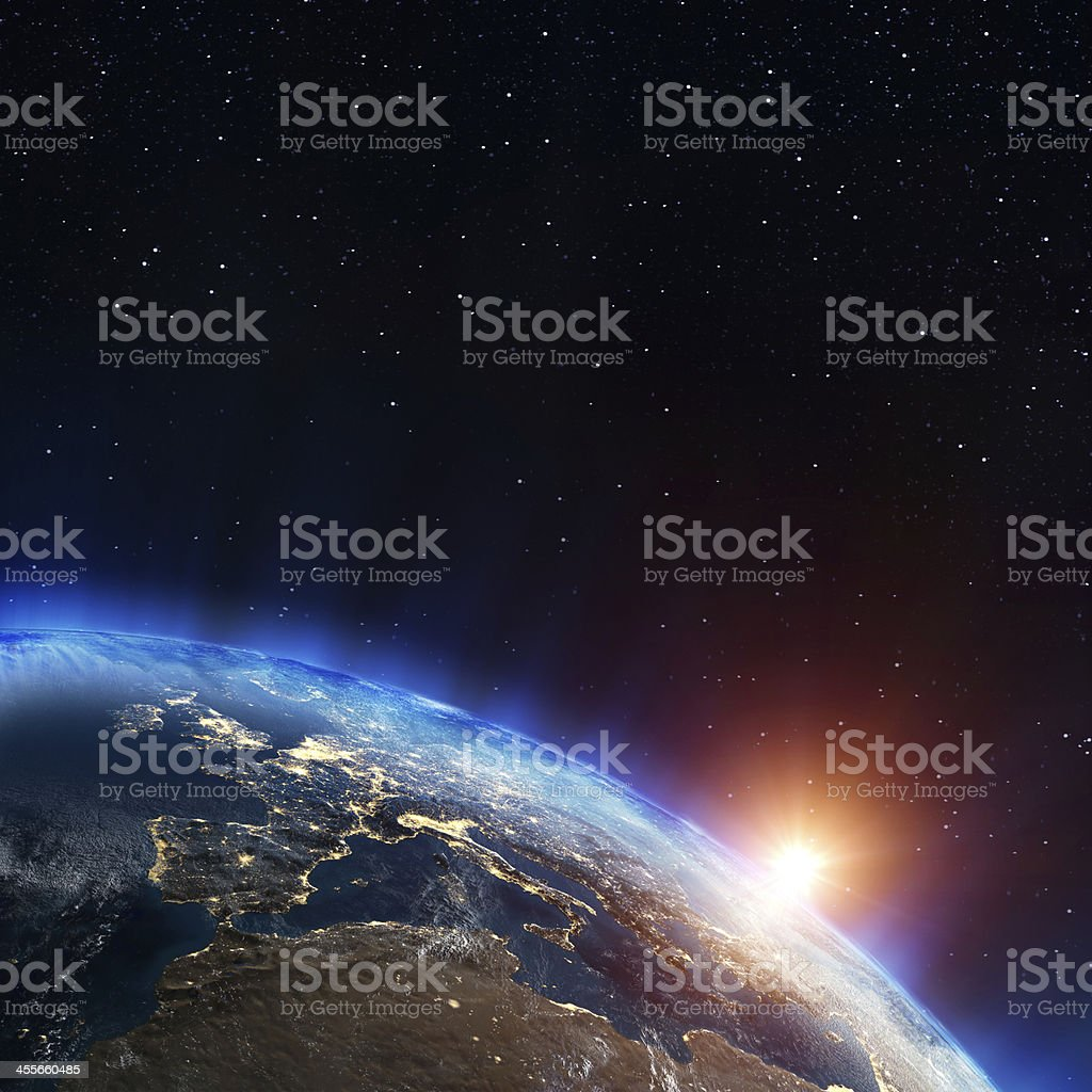 City lights of Europe visible from space stock photo