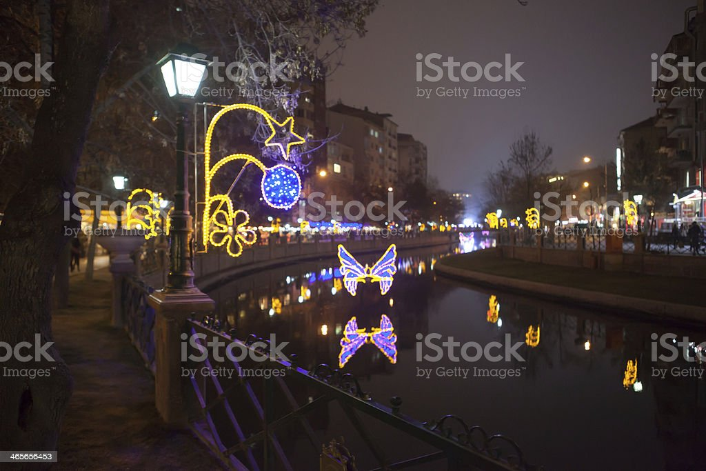 City Lights Reflected on The River royalty-free stock photo