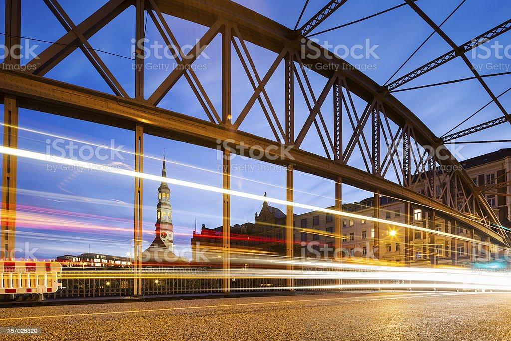 City lights - Traffic in Hamburg royalty-free stock photo