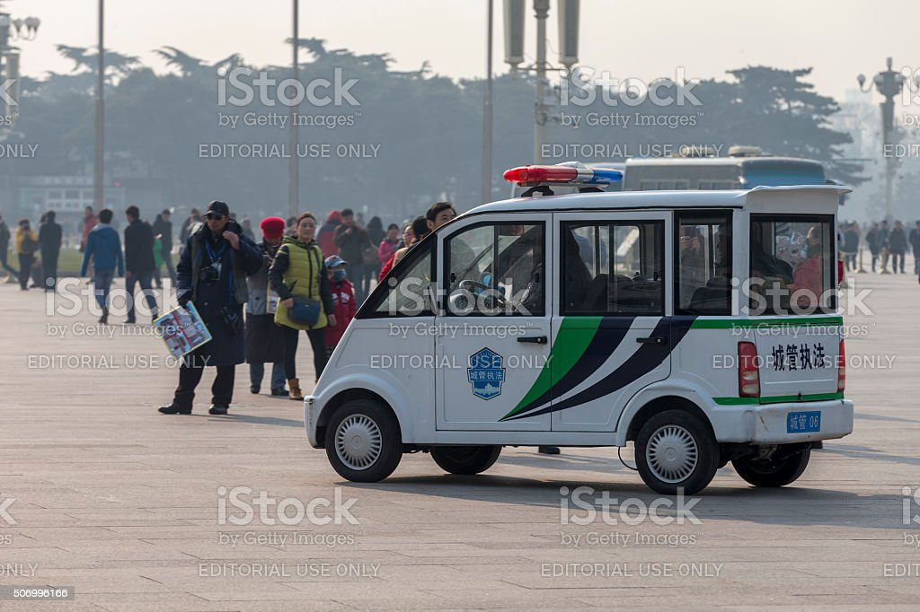 City management car at Tiananmen square in Beijing stock photo