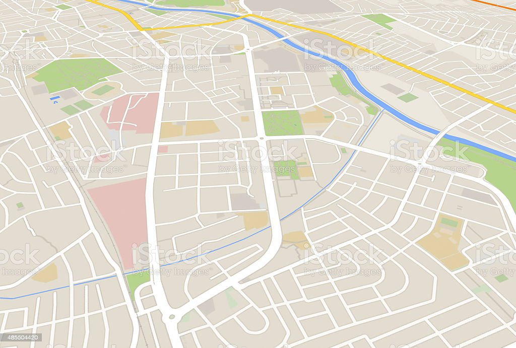 city map 3d rendering image vector art illustration