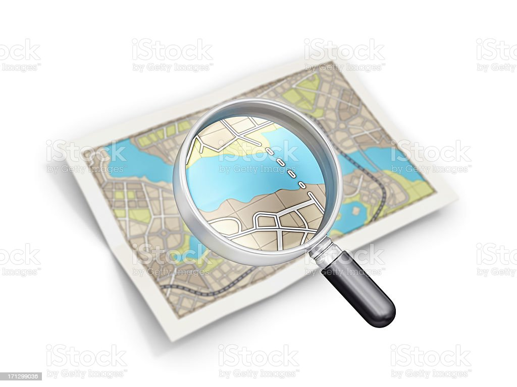 city map and loupe royalty-free stock photo