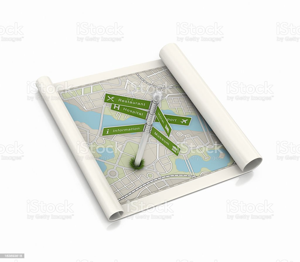 city map and turist sign post royalty-free stock photo