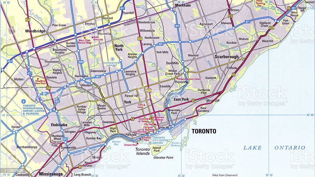 City map of Toronto stock photo