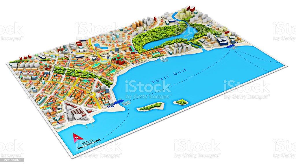 3D city map stock photo