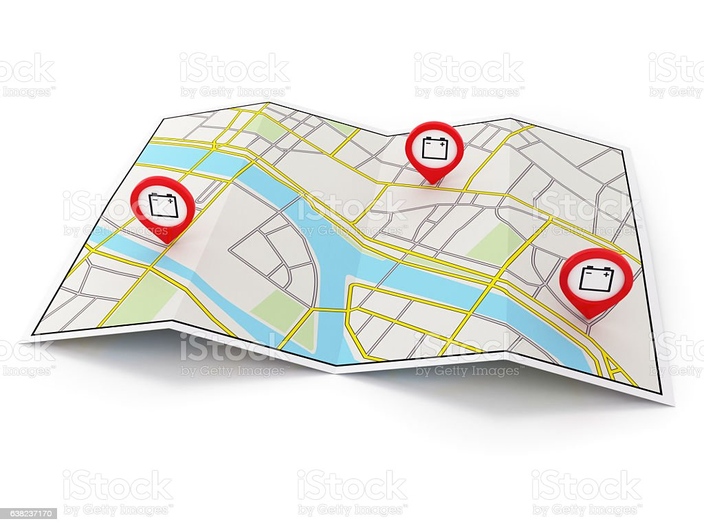 City map with EV-Charging pin stock photo