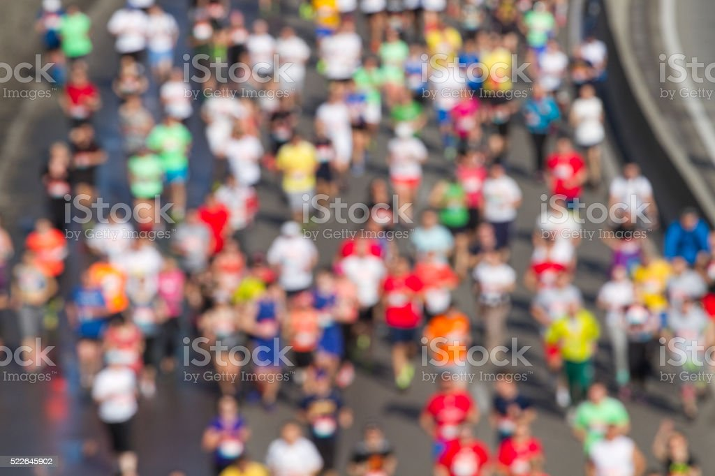 City marathon of blurred stock photo