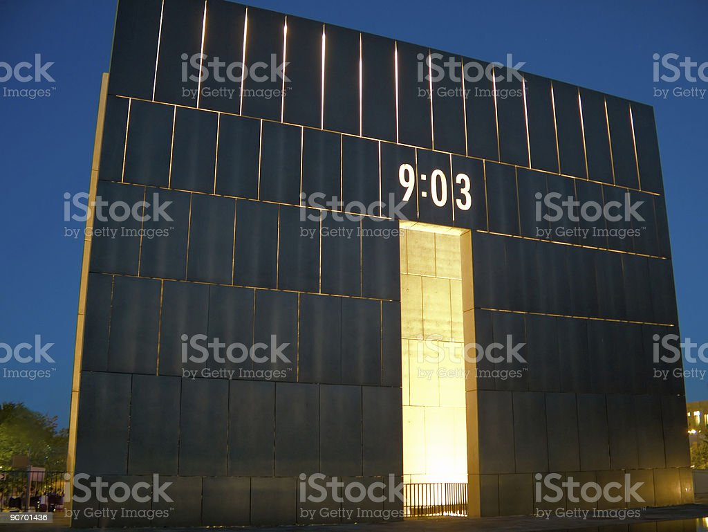 OK City Memorial at Night royalty-free stock photo