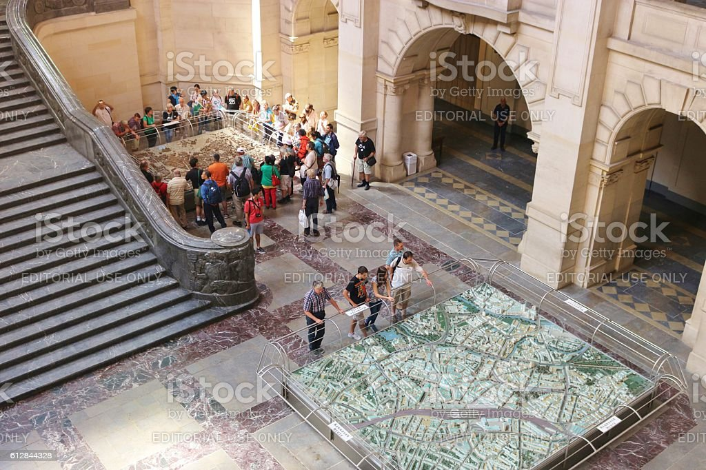 City models in the New Town Hall of Hannover, Germany. stock photo