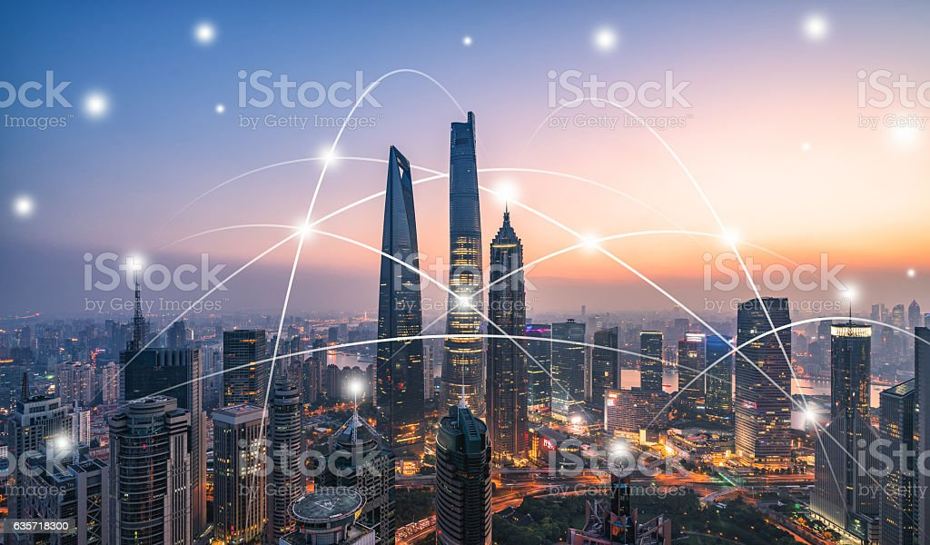 city network technology stock photo