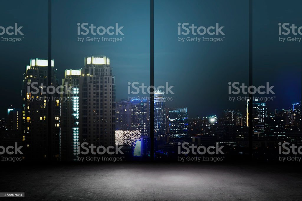 City Night Background Inside Office Building stock photo
