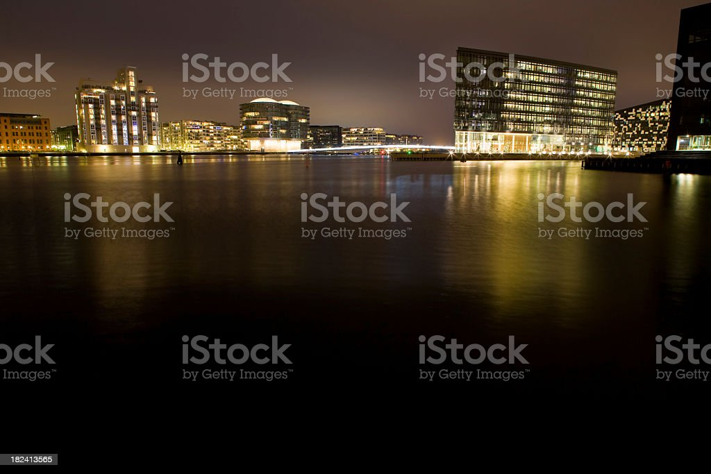 City Night Harbur stock photo