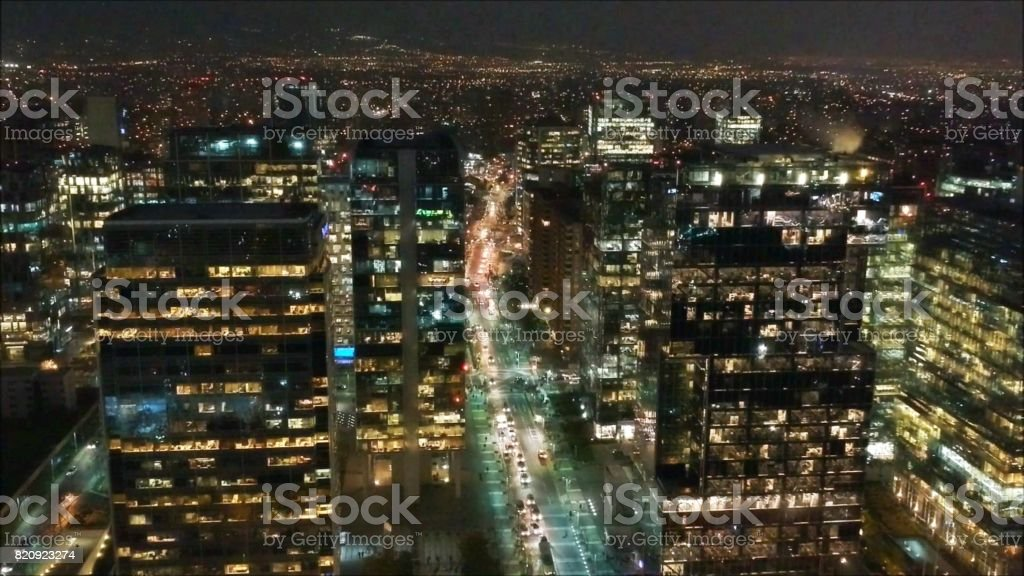 City night lights in Santiago, Chile stock photo